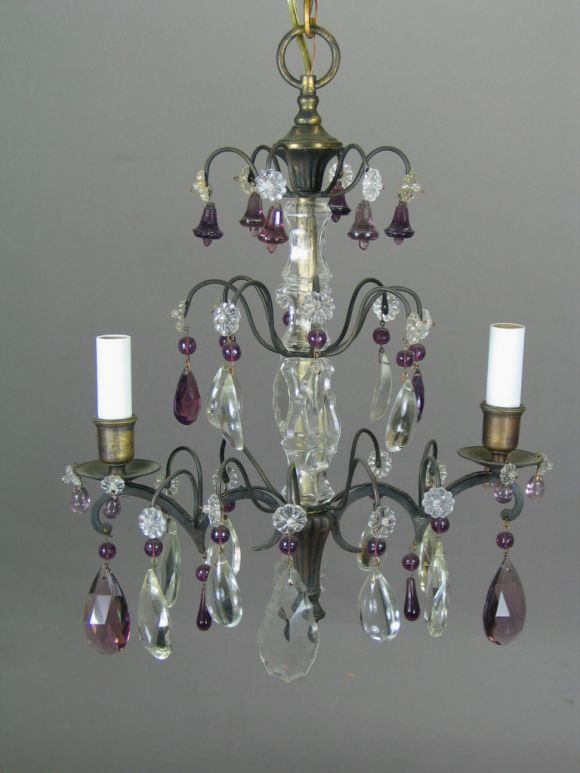 French Amethyst Crystal Chandelier In Excellent Condition For Sale In Douglas Manor, NY