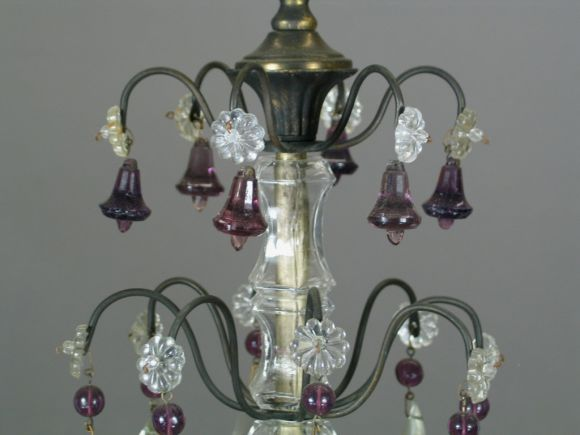 20th Century French Amethyst Crystal Chandelier For Sale