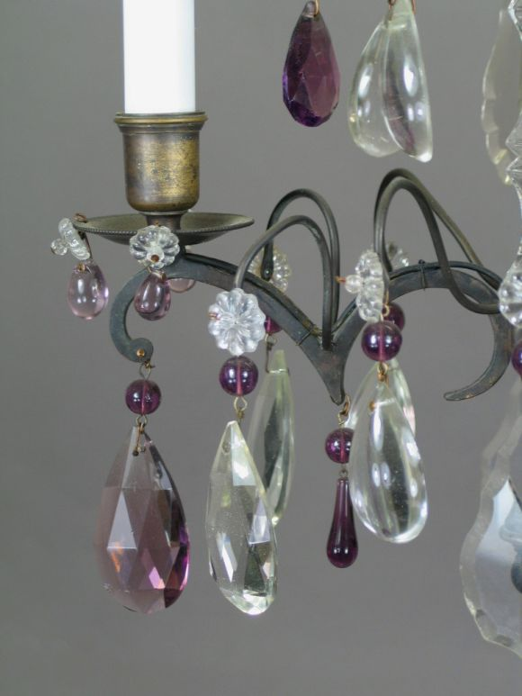 Brass French Amethyst Crystal Chandelier For Sale