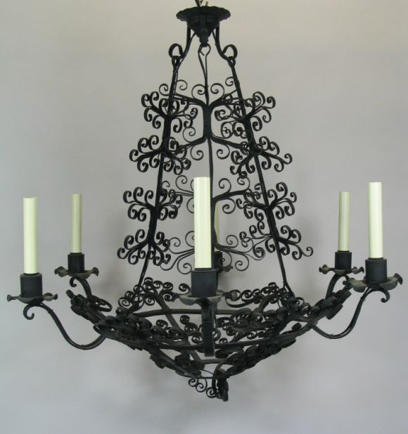 A handmade French  iron scroll work six-light chandelier