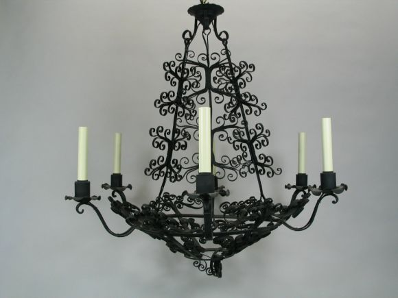 Metal Large Handmade Country French Chandelier For Sale