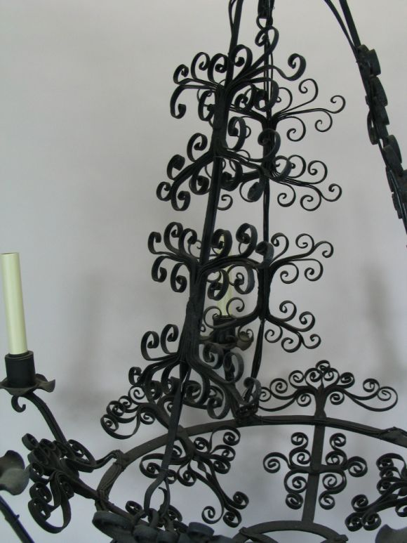 20th Century Large Handmade Country French Chandelier For Sale
