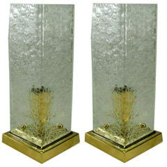 Pair of Mid-Century Crackle Glass Lamps