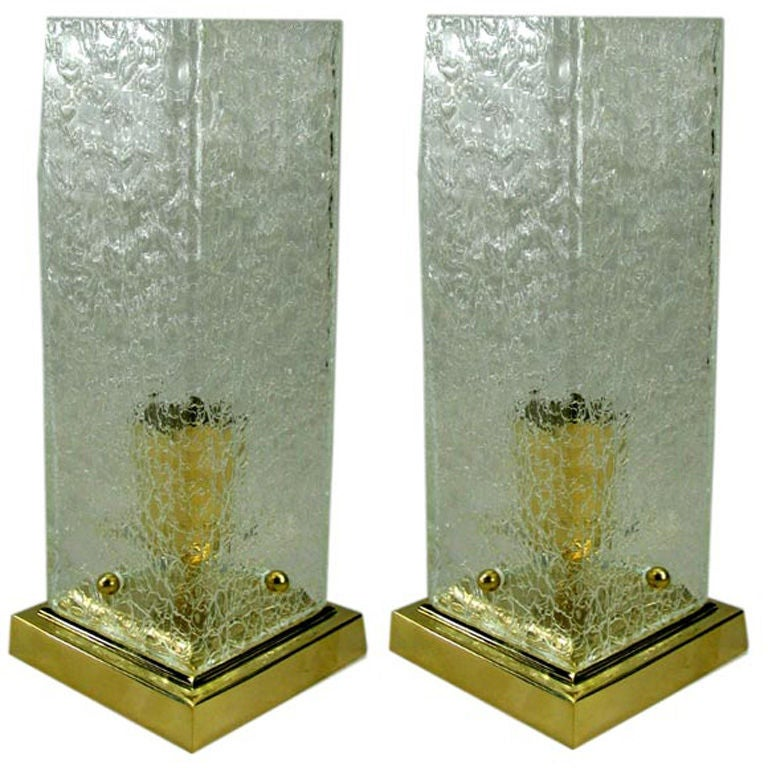 Pair of Mid-Century Crackle Glass Lamps For Sale