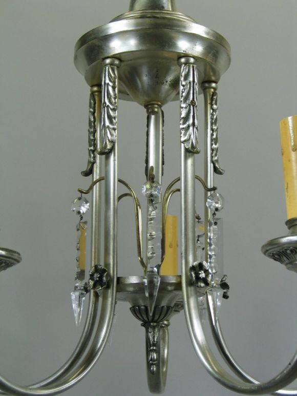 Silver Plate Chandelier, circa 1910 In Good Condition For Sale In Douglas Manor, NY