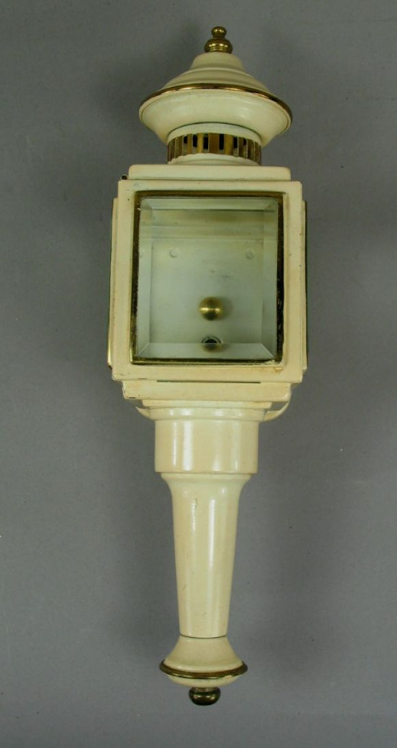 English Pair of Enameled Carriage Sconces For Sale