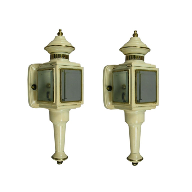 Pair of Enameled Carriage Sconces For Sale