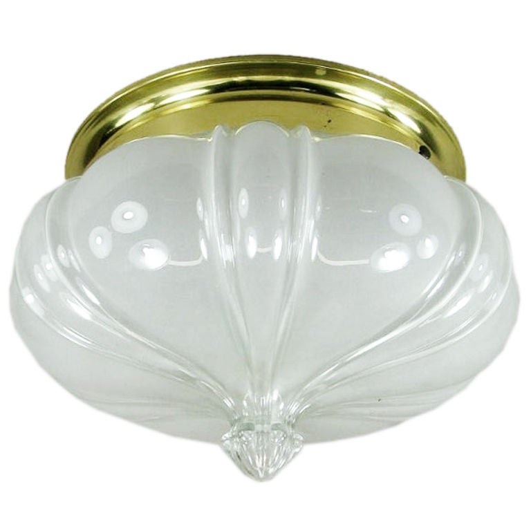 Oversized Opaline Glass Crown Flush Mount For Sale