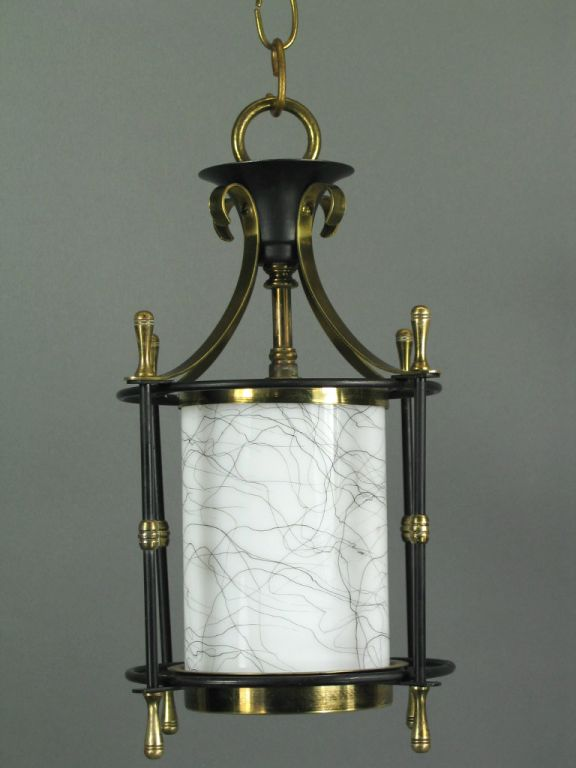 #1-2108abc, small blackened brass lantern with art glass shade. Priced individually. One has slightly different glass pattern