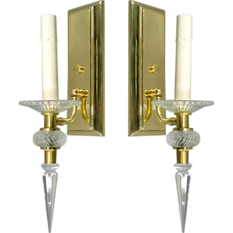 Pair French crystal and brass sconces at 1stdibs