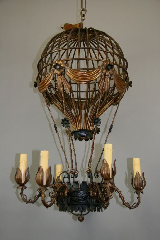 1 2132 Beautifully Crafted Italian Six Lite Hot Air Balloon Chandelier