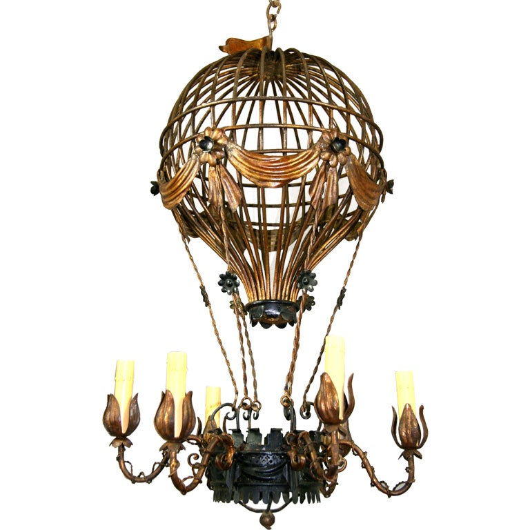 Circa 1950s italian hot air balloon chandelier at 1stdibs circa 1950s italian hot air balloon chandelier for sale mozeypictures Images