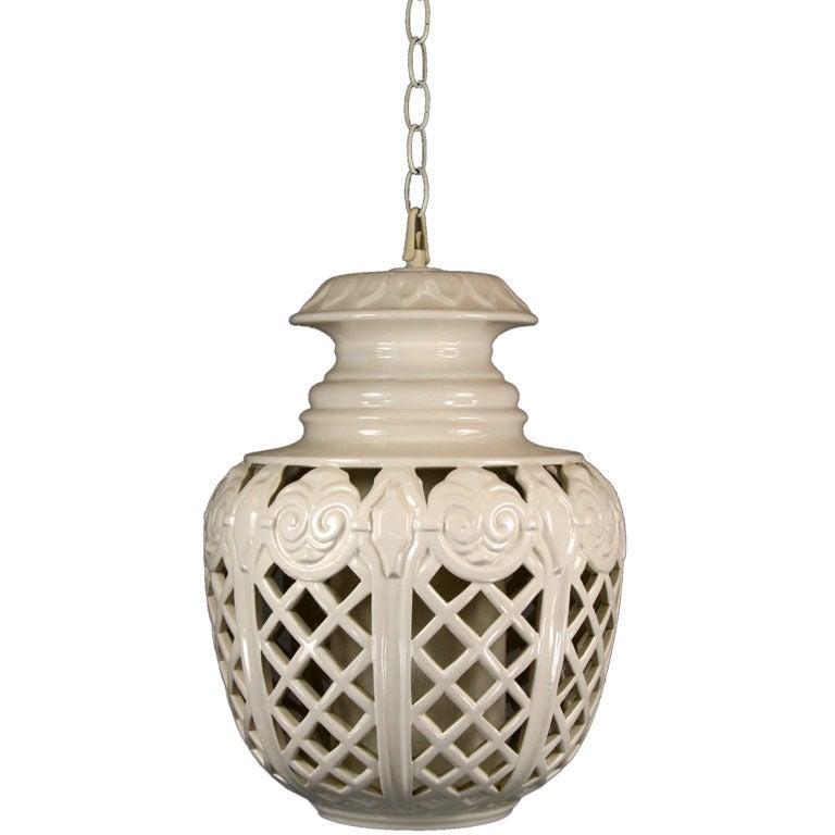 Oversized Mid Century Ceramic Pendant