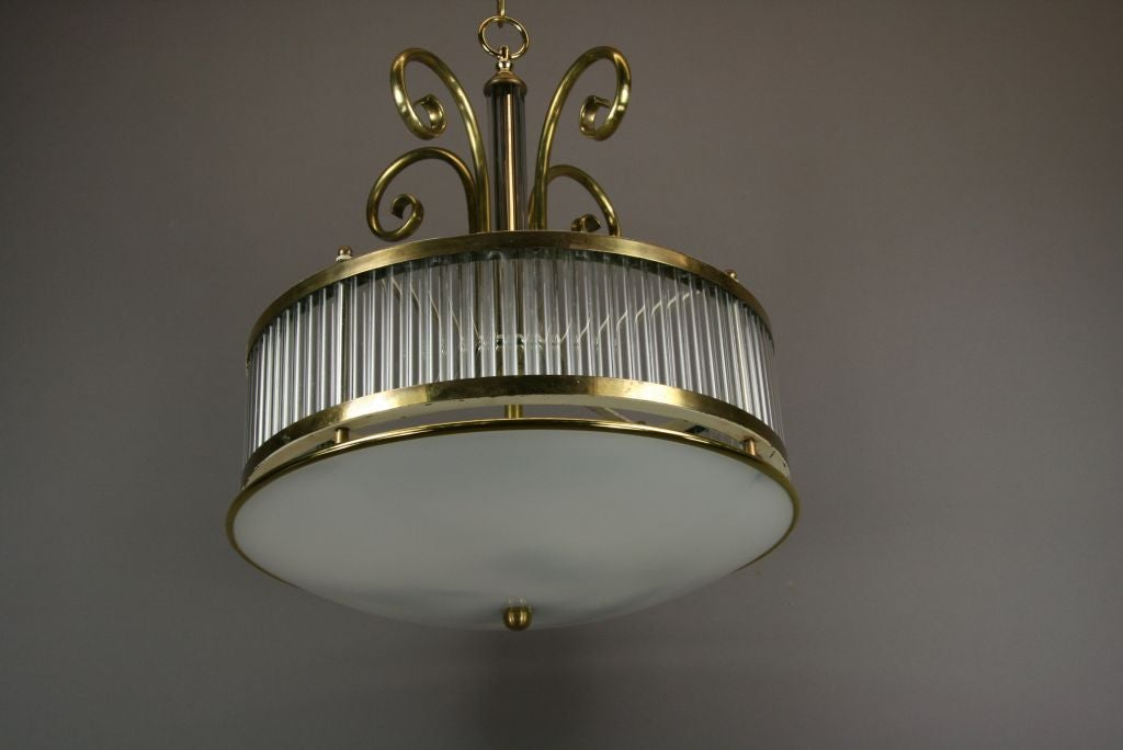 Mid Century  Brass and Glass Fixture In Good Condition For Sale In Douglas Manor, NY
