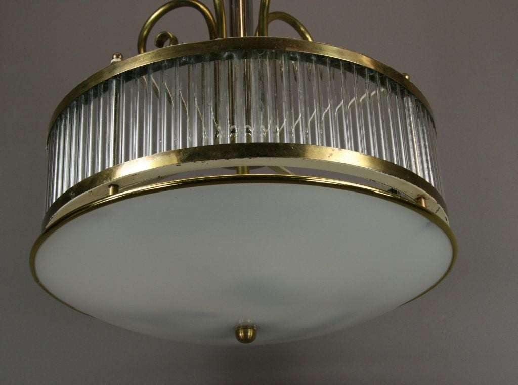 Italian Mid Century  Brass and Glass Fixture For Sale