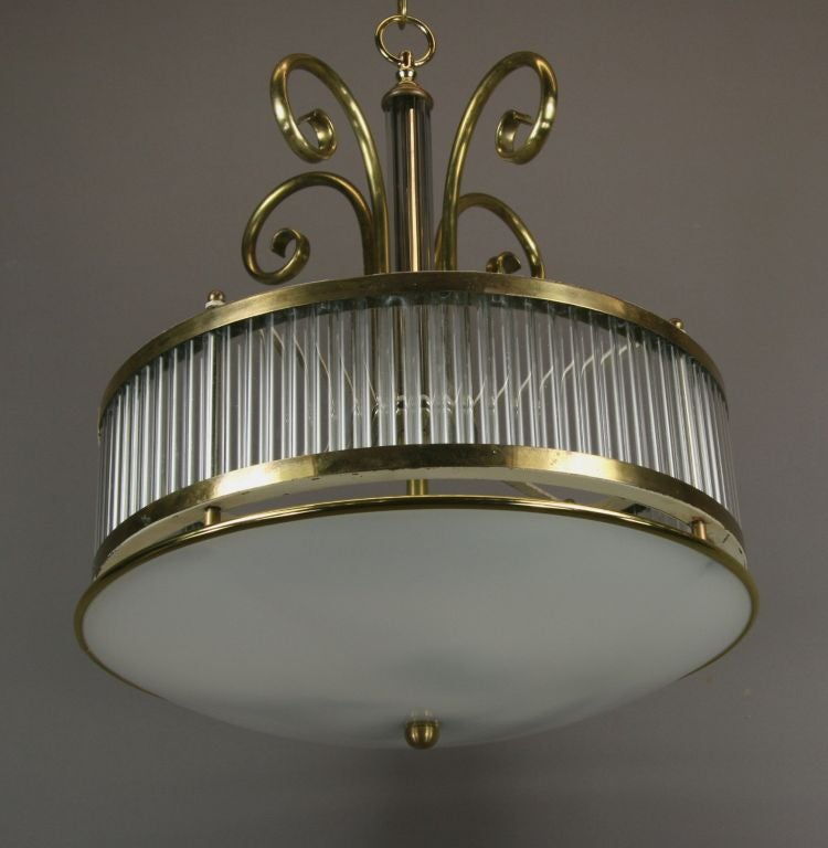 Mid-20th Century Mid Century  Brass and Glass Fixture For Sale