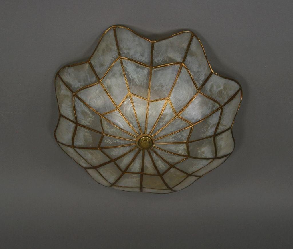 Spider web capiz shell flushmount at 1stdibs for Shell ceiling light fixtures