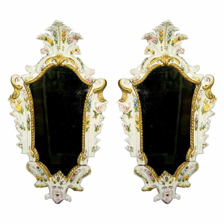Pair of Mid-19th Century Italian Majolica Mirrors For Sale