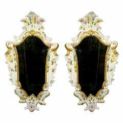 Pair of Mid-19th Century Italian Majolica Mirrors