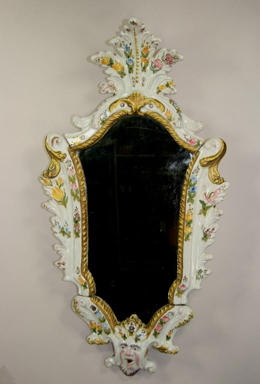 #6-596 a pair of rare Italian handmade Majolica mirror from Le Marche.