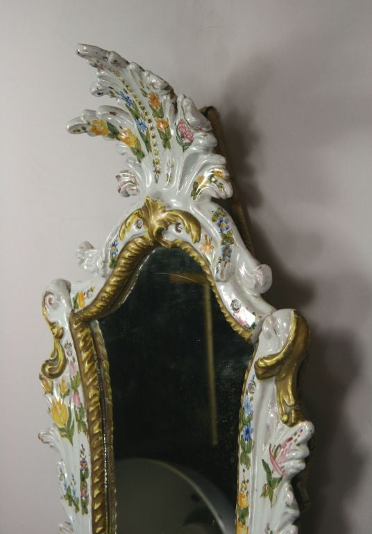 Pair of Mid-19th Century Italian Majolica Mirrors For Sale 2