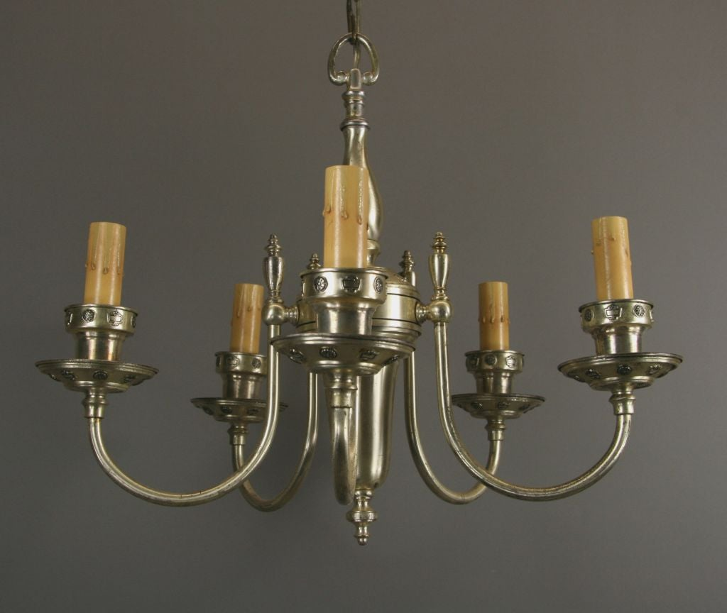 ON SALE Silver Plate Chandelier, circa 1920s In Good Condition For Sale In Douglas Manor, NY