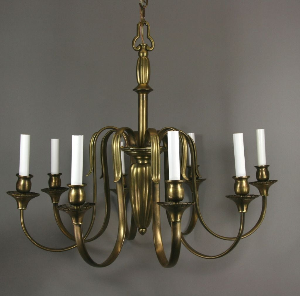 #1-2222, a large eight arms fluted center French bronze chandelier. NO ADDITIONAL DISCOUNTS ON SALE ITEMS