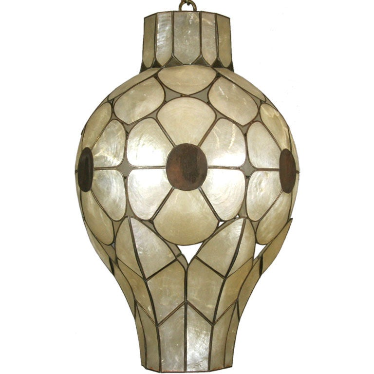 Unusual Mid Century  Capiz Shell Pendant