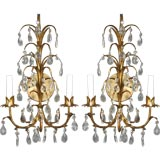 Pair gilt and crystal drop sconces