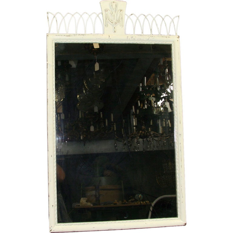 #6-539, distress wood mirror with carved wood detail and brass filigree top.