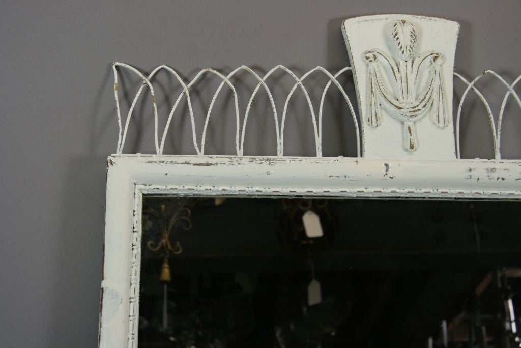 Carved Wood Mirror with Brass Filigree Top In Good Condition For Sale In Douglas Manor, NY