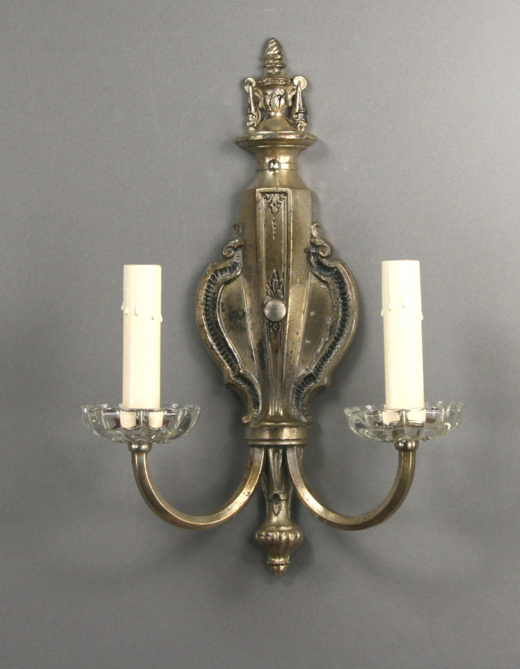 20th Century Silvered and Crystal Sconces, circa 1920s For Sale
