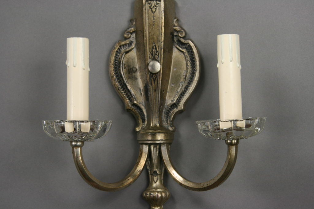 Silvered and Crystal Sconces, circa 1920s In Good Condition For Sale In Douglas Manor, NY