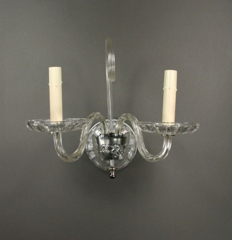 Pair Double Crystal Sconces at 1stdibs