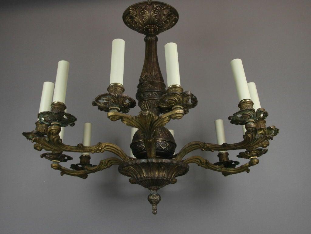 Progress Lighting Alexa Collection 2 Light Antique Bronze: Twelve-Light Italian Bronze Double Arm Chandelier At 1stdibs