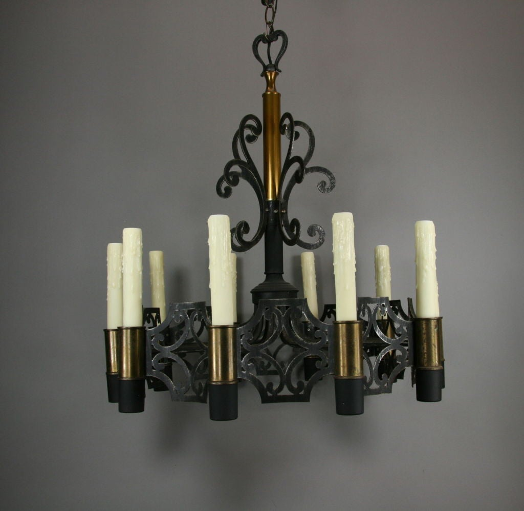 Black Iron and Brass Chandelier at 1stdibs
