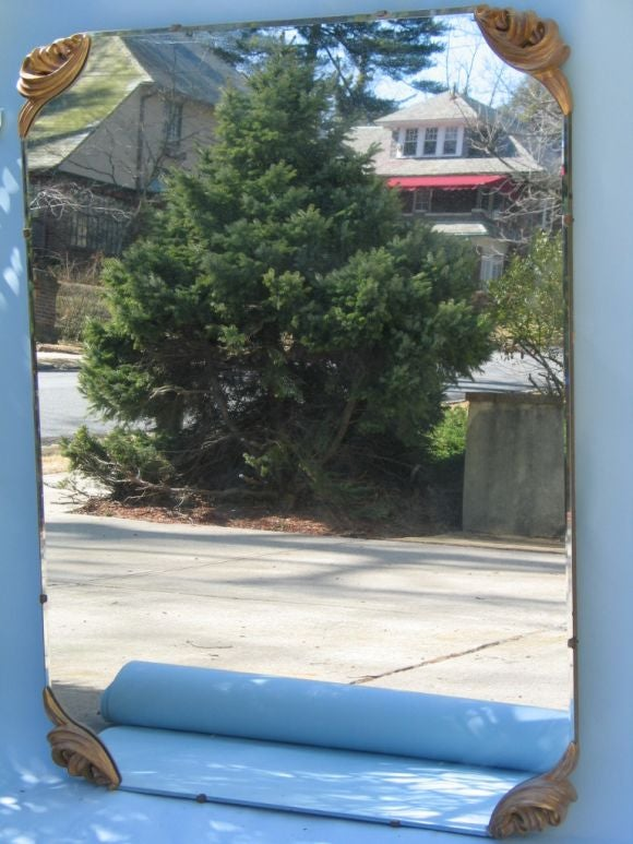 Large Mirror with Cast Gilt Metal Corners In Good Condition For Sale In Douglas Manor, NY
