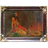 Indian at Campfire Painting