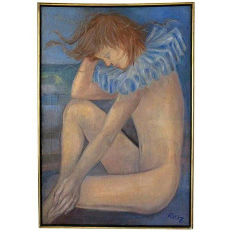 Androgyne Blue Oil Painting For Sale