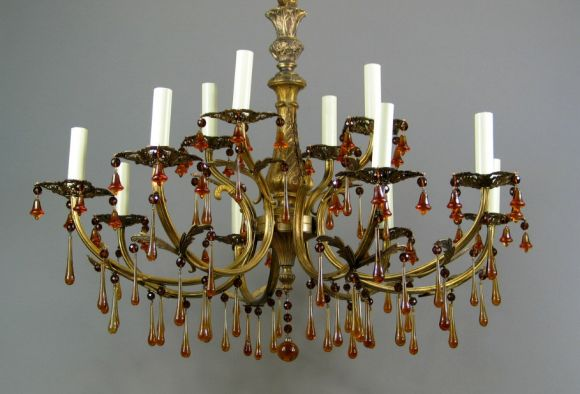Two Tier Amber Drops Chandelier At 1stdibs
