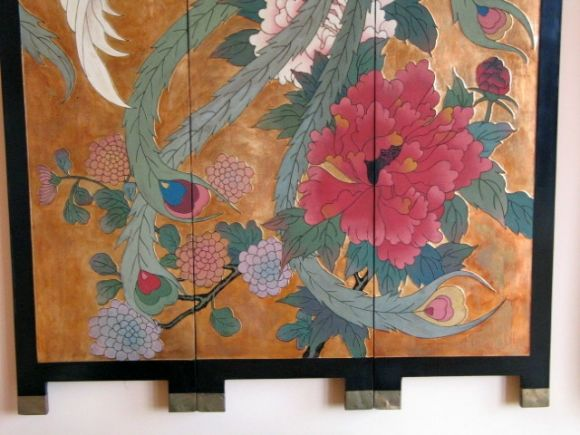 #5-189. A large lacquered hand-painted  botanical wall wood  panel.
