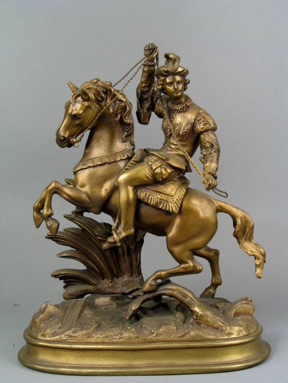 #9-031 Man on Horseback, finely detailed metal casting of man on horseback sculpture.