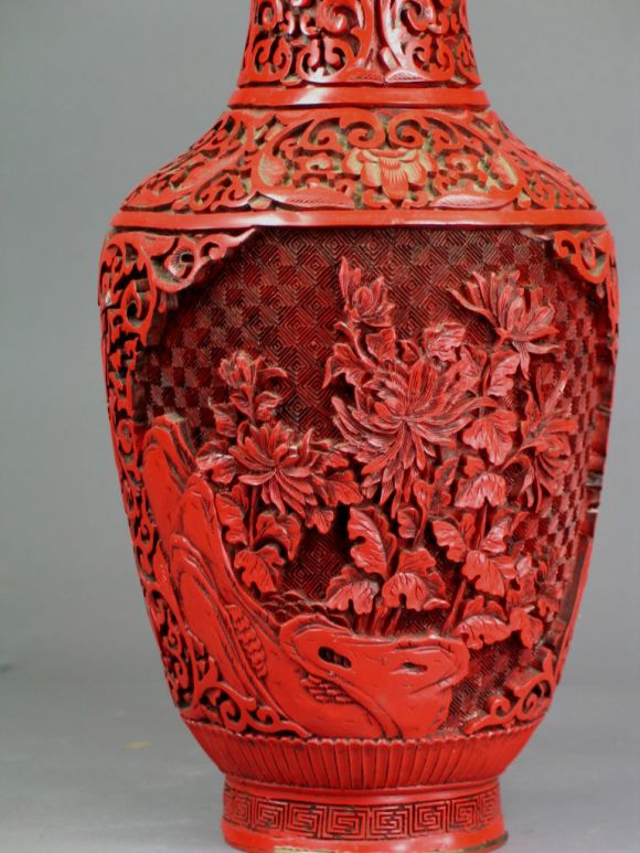 Mid-20th Century Red Lacquer Carved Vase For Sale