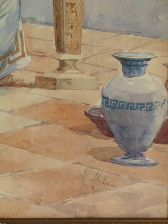 Greek Artist  Watercolor Painting In Good Condition For Sale In Douglas Manor, NY