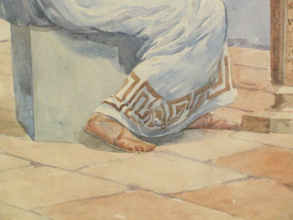Mid-20th Century Greek Artist  Watercolor Painting For Sale