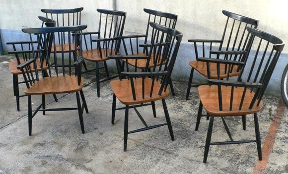 Set of Eight Armchairs by Tapiovaara In Fair Condition For Sale In Brooklyn, NY