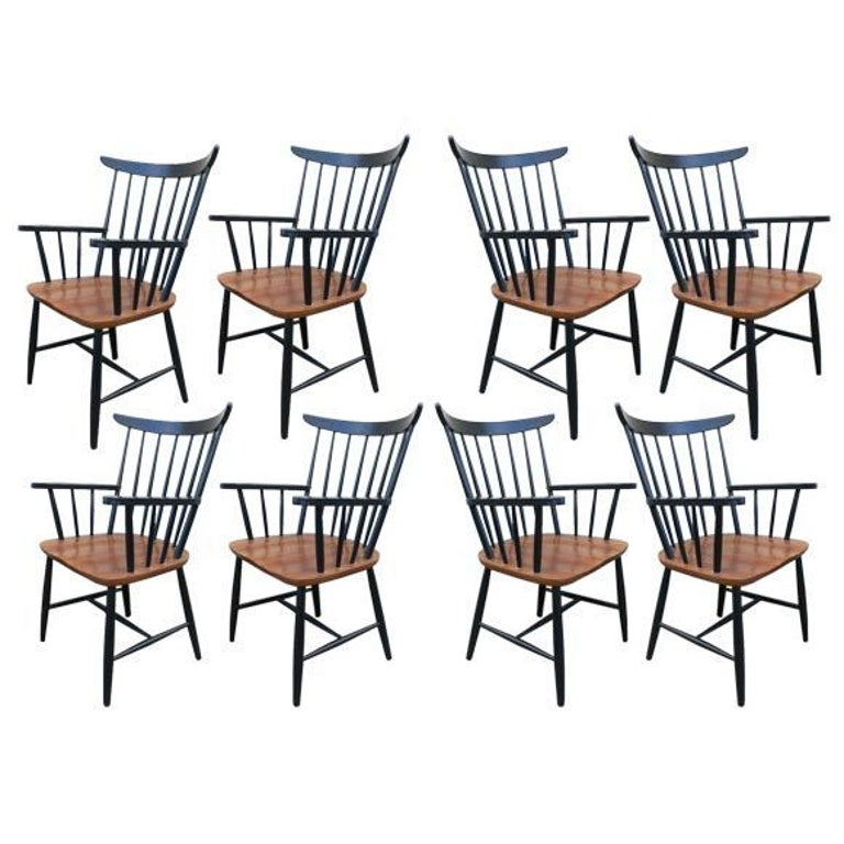 Set of Eight Armchairs by Tapiovaara For Sale