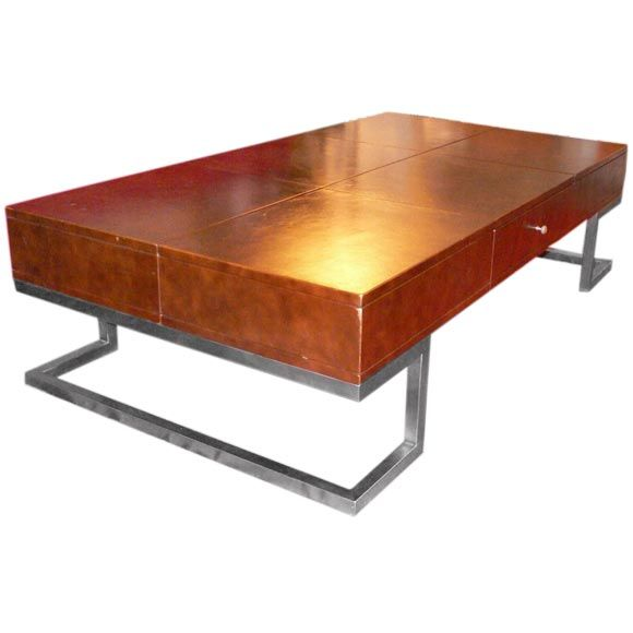 Large Leather Covered Stereo Coffee Table At 1stdibs