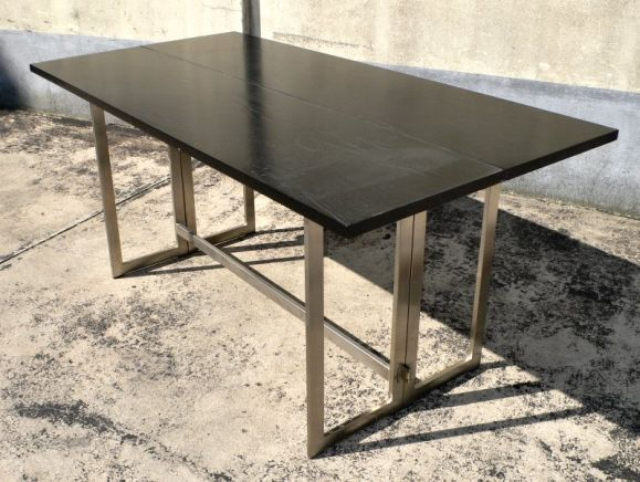 Stainless folding table console by ramsay at 1stdibs for Table console retractable
