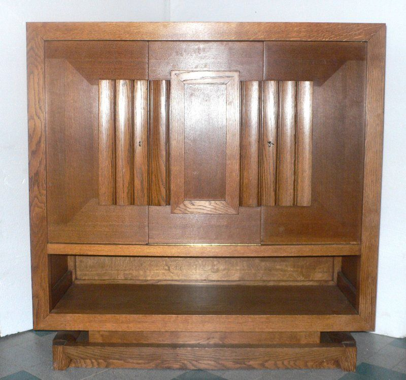 Oak Pair of Cabinets by Charles Dudouyt For Sale